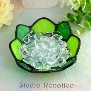 ステンドグラス浄化トレイクリスタル水晶付き グリーン