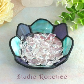 ステンドグラス浄化トレイクリスタル水晶付き バイオレット×ブルー