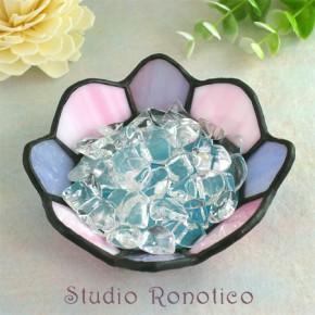ステンドグラス浄化トレイクリスタル水晶付き パープル×ピンク