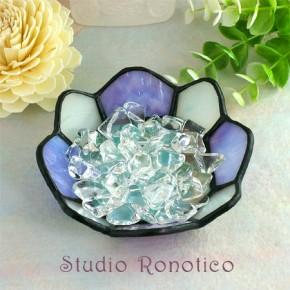 ステンドグラス浄化トレイクリスタル水晶付き パープル×ブルー