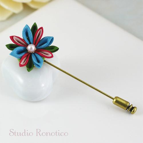 シルクのお花のハットピン